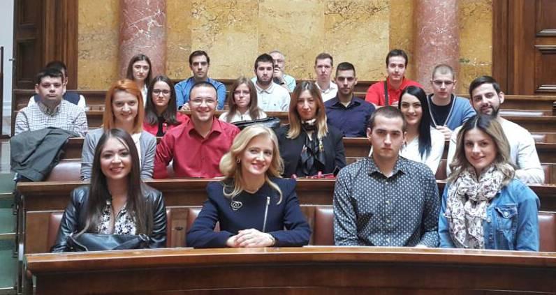 Омладина Народне странке Београда посетила Скупштину Србије поводом Дана студената