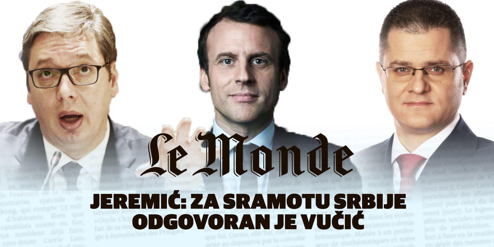 Јеремић: За срамоту Србије одговоран је Вучић