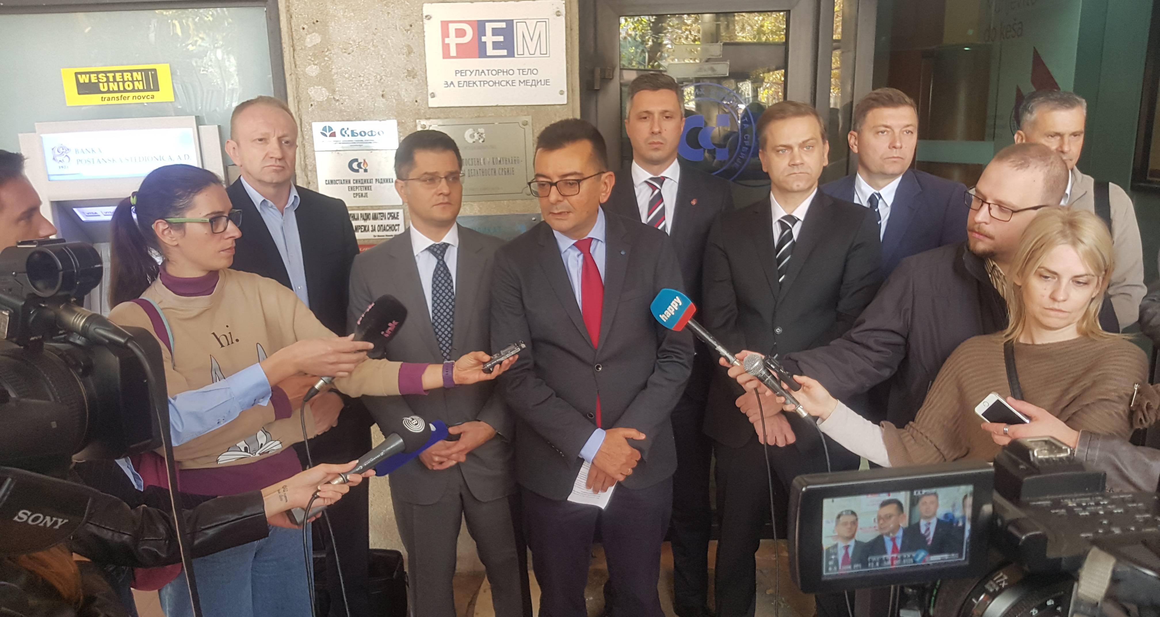 Савез за Србију: РЕМ да казни РТС и РТВ и укине националну фреквенцију телевизији Пинк