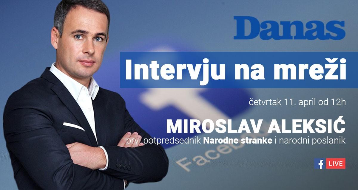 Мирослав Алексић 11. априла одговара на питања грађана преко Фејсбука