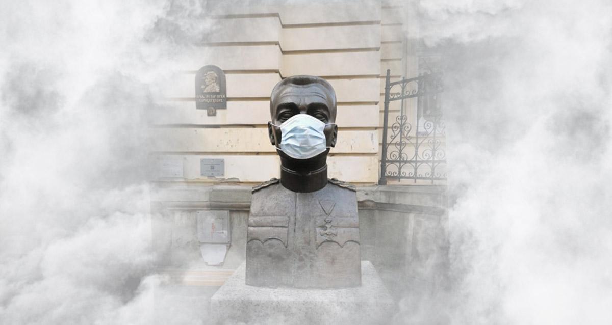Омладина Народне странке маскама прекрила бисте због загађења