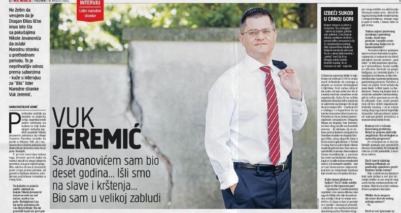 Јеремић: Сарадња са Николом Јовановићем више није могућа, надам се да ће сви то разумети