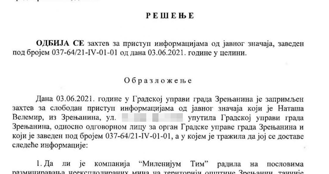 """Народна странка: Уговор са """"Миленијум тимом"""" у Зрењанину проглашен за државну тајну"""